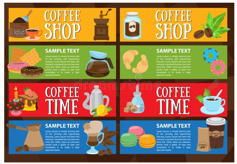 Coffee colorful bright banners. Drinks and food stock photography