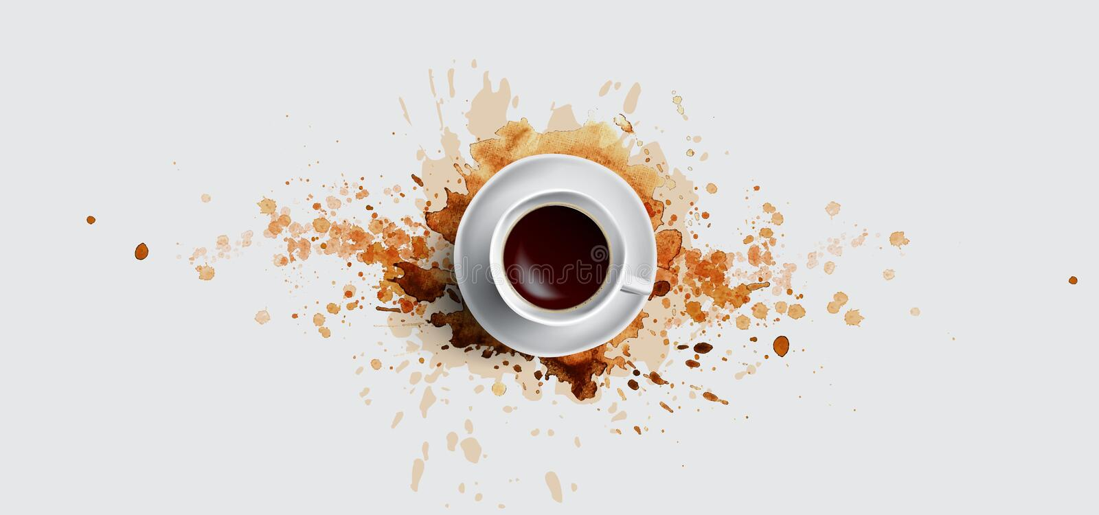 Coffee concept on white background - white coffee cup, top view with watercolor coffee splashes. Hand draw and vector illustration