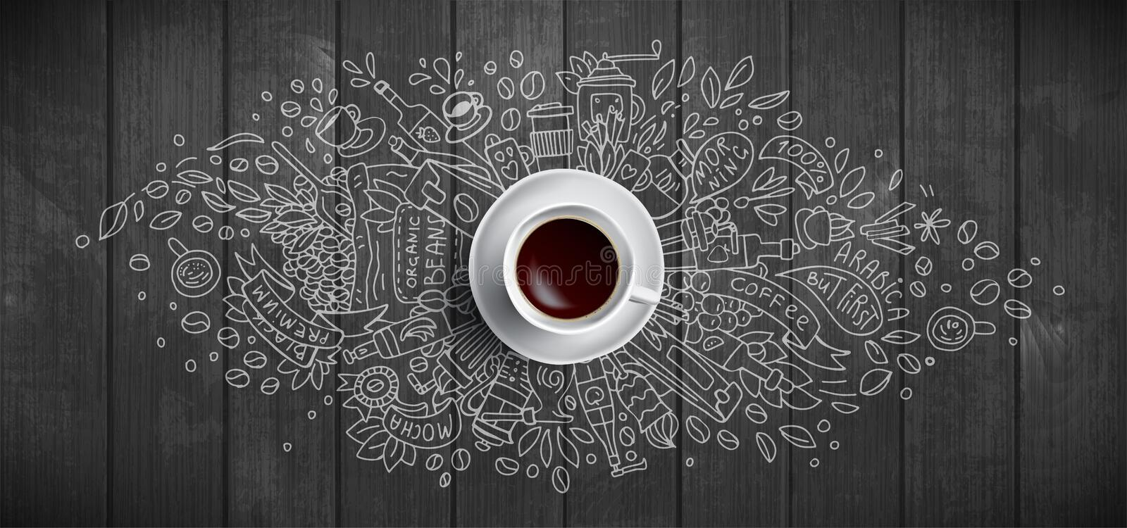 Coffee concept on wooden background - white coffee cup, top view with doodle illustration about coffee, beans, morning. Espresso cafe, breakfast. Morning vector illustration