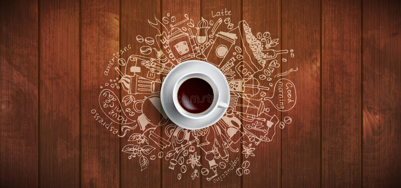 Coffee concept on wooden background - white coffee cup, top view with doodle illustration about coffee, beans, morning vector illustration