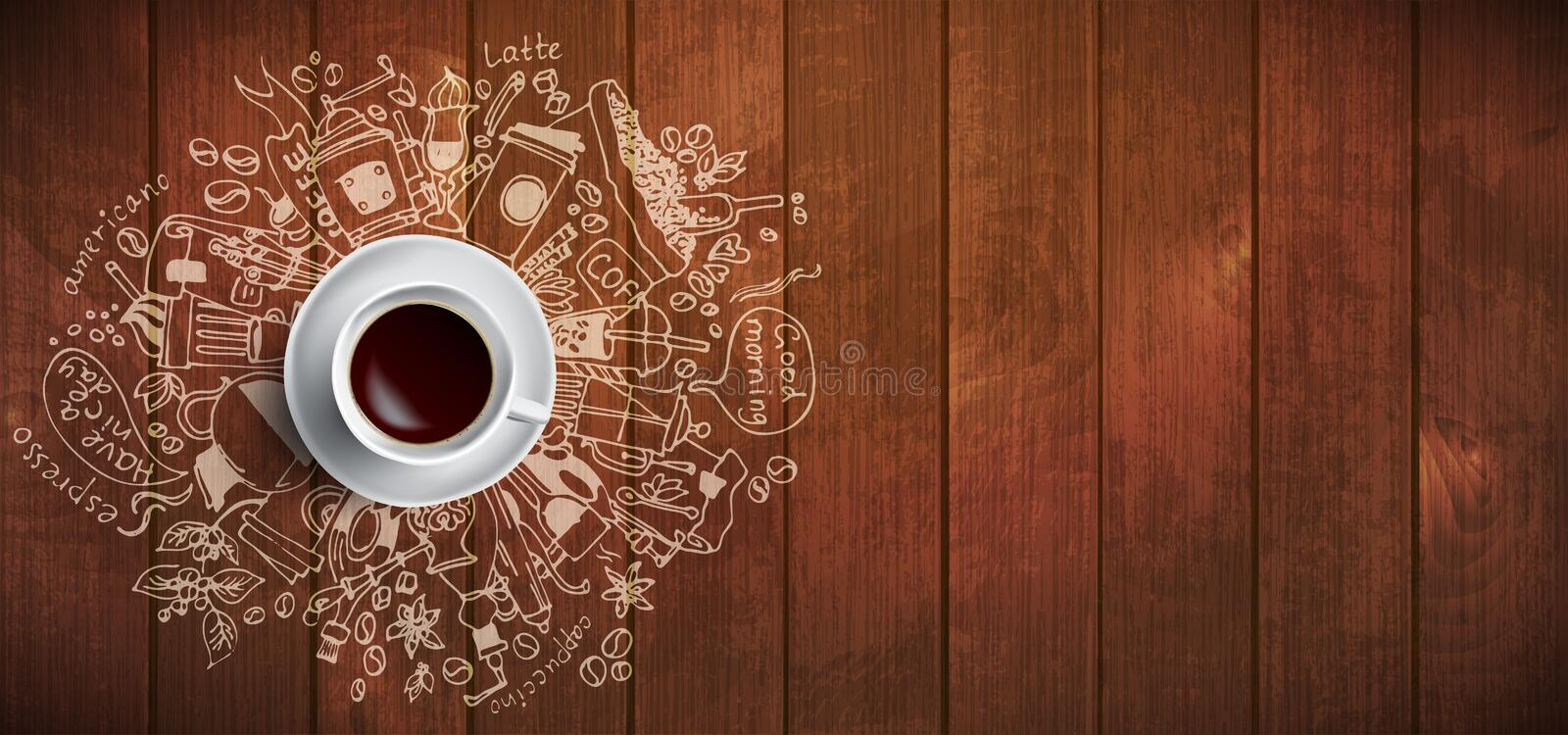 Coffee concept on wooden background - white coffee cup, top view with doodle illustration about coffee, beans, morning royalty free illustration