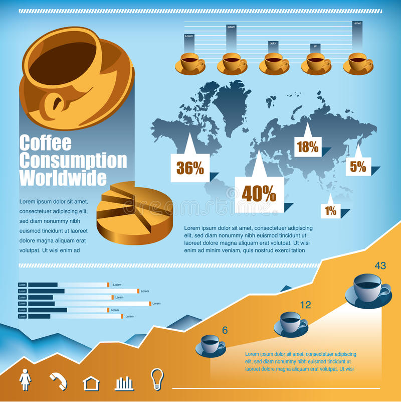 Coffee Consumption Infographic Web Chart. Coffee consumption worldwide chart with statistics, map and graphs and web icons royalty free illustration