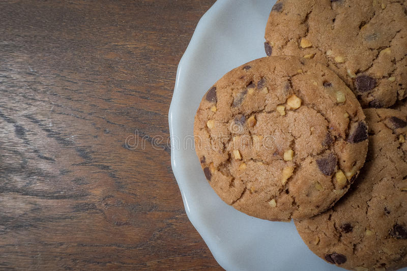 Coffee cookie on table. Wood in morning for your mind design stock image