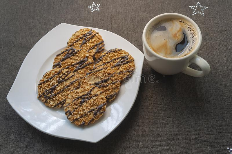 Coffee with cookies royalty free stock photos