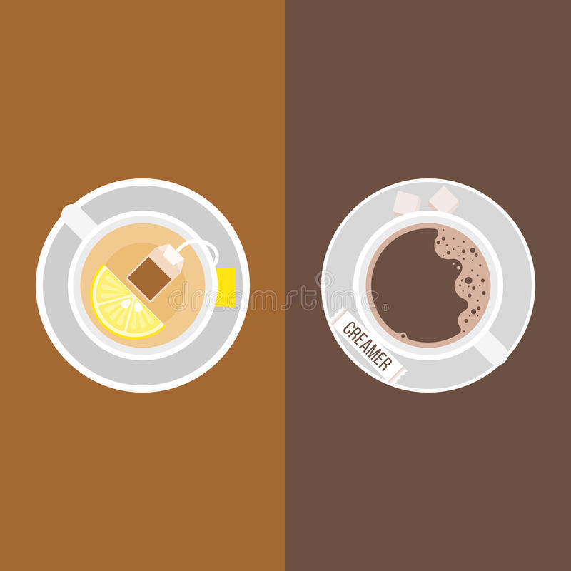 Free Coffee, Creamer Package And Sugar Cubes Royalty Free Stock Images - 98661709