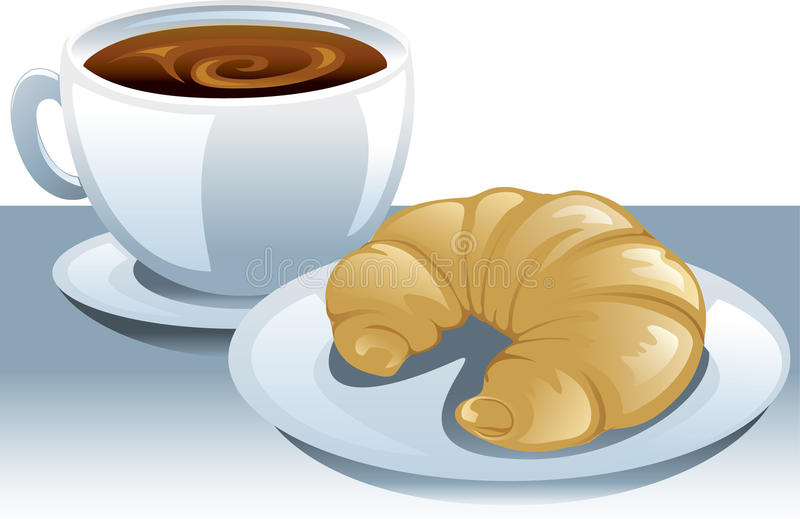 Download Coffee and a croissant stock vector. Image of bread, pastry - 15067776
