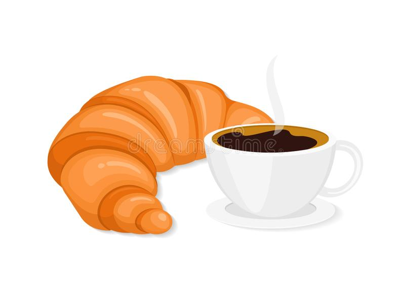 Coffee and croissant in flat style vector illustration royalty free stock photography