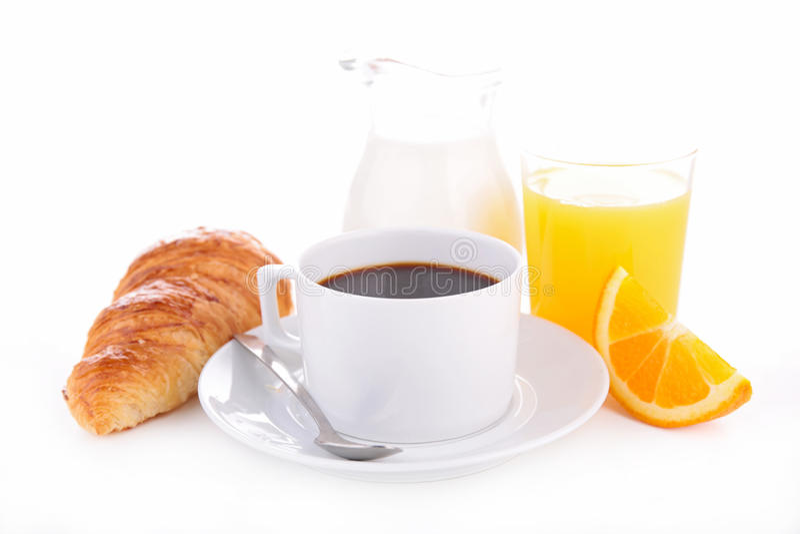 Coffee, croissant and orange juice royalty free stock photos