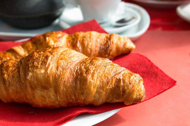 Download Coffee and croissants stock photo. Image of espresso - 25560616