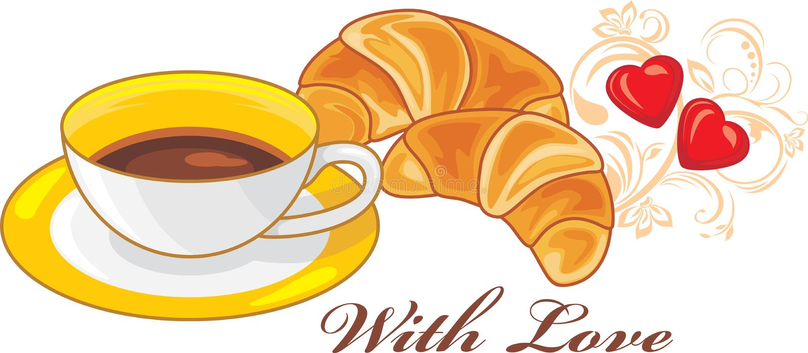 Coffee and croissants. With love stock image