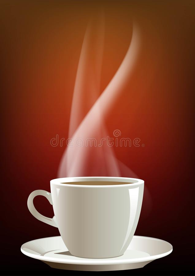 Coffee cup. And red background,white  and hot caffee royalty free illustration