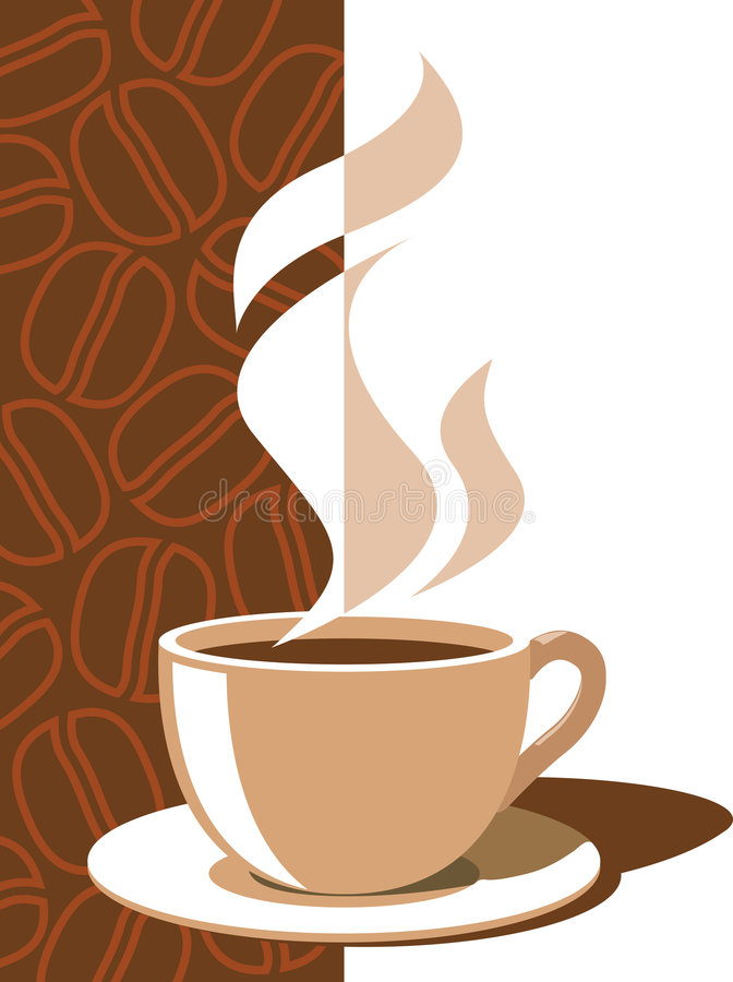 Coffee cup. With aroma steam on a brown background with coffee beans
