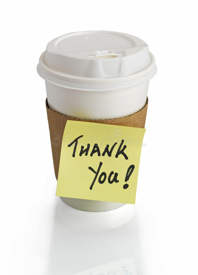 Coffee cup. And thank you royalty free stock image