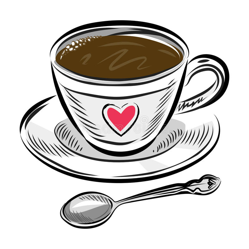 Free Coffee Cup And Spoon. Hand Drawn Vector Illustration. Stock Images - 76458784
