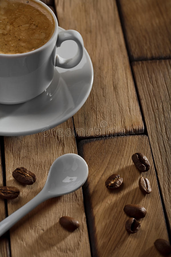 Free Coffee Cup And Spoon On Wooden Table Stock Photo - 23995920