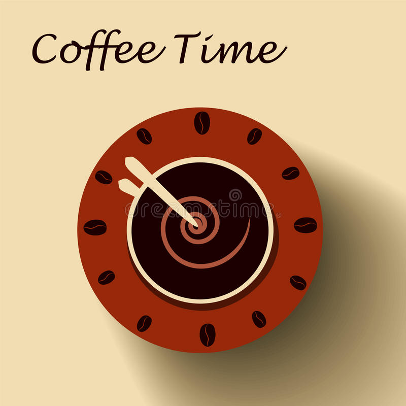Coffee cup as clock. Coffee time concept. stock illustration