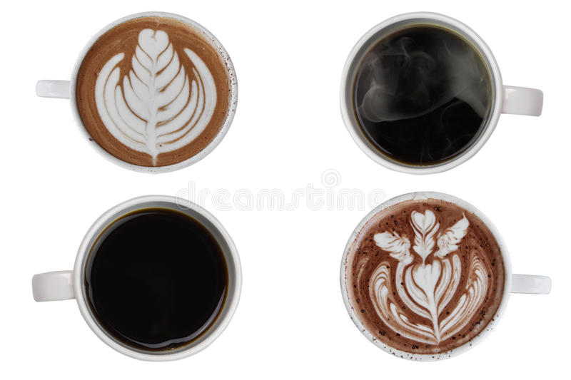 Coffee cup assortment top view collection isolated on white Background. stock photography