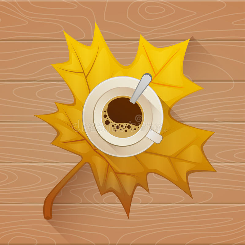 Coffee cup on the autumn fall leaves and wooden old table background. Vector Flat illustration vector illustration