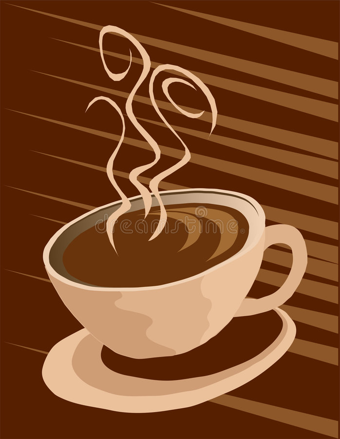 Coffee cup background. Steaming Coffee cup dark background royalty free illustration