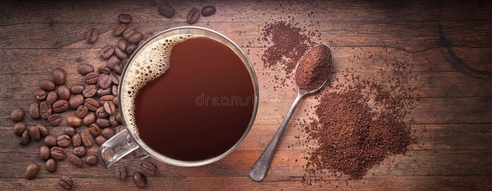 Coffee Beans Cup Banner Background royalty free stock photo