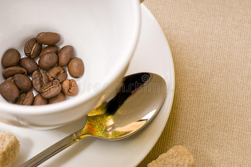 Coffee cup with bean stock photo