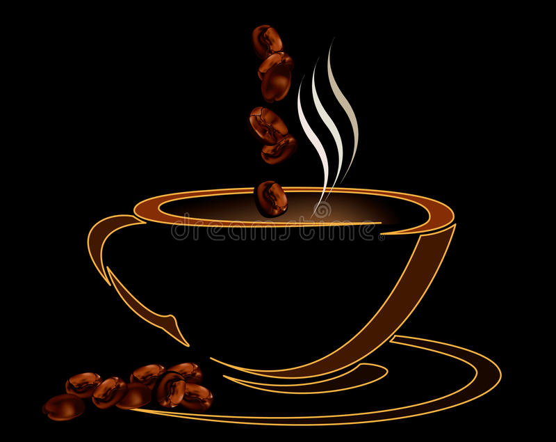 Coffee cup with beans on black background royalty free illustration