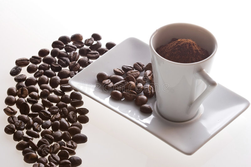 Download Coffee Cup And Beans On Table Stock Image - Image: 3131023