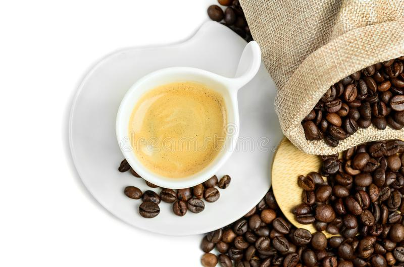 Coffee cup and beans royalty free stock images