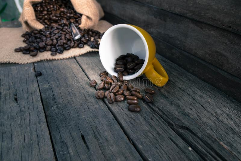 Coffee cup, coffee beans stock photography