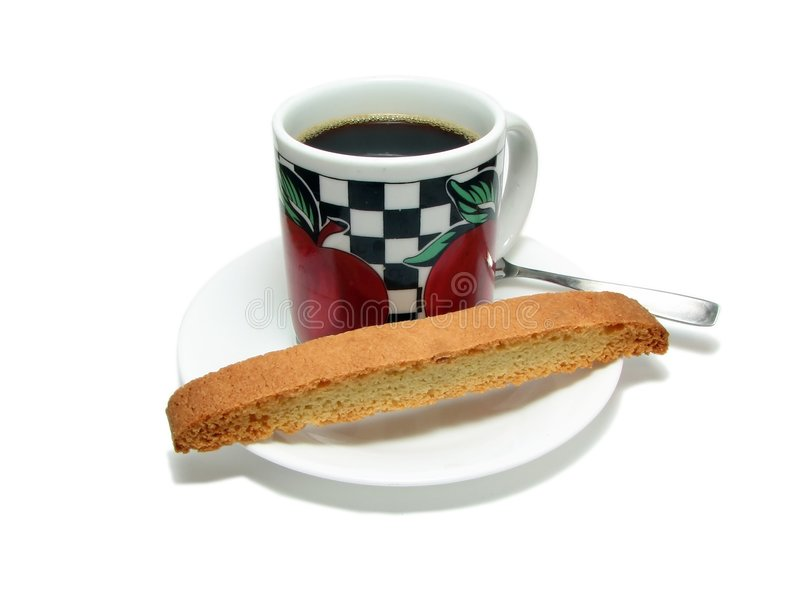 Coffee cup and biscotti royalty free stock images