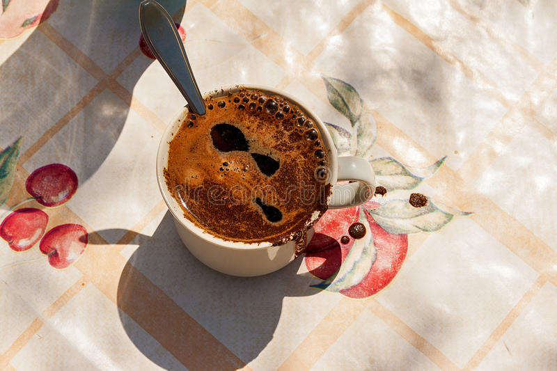 Coffee Cup Black Spoon Oilcloth Board Royalty Free Stock Images