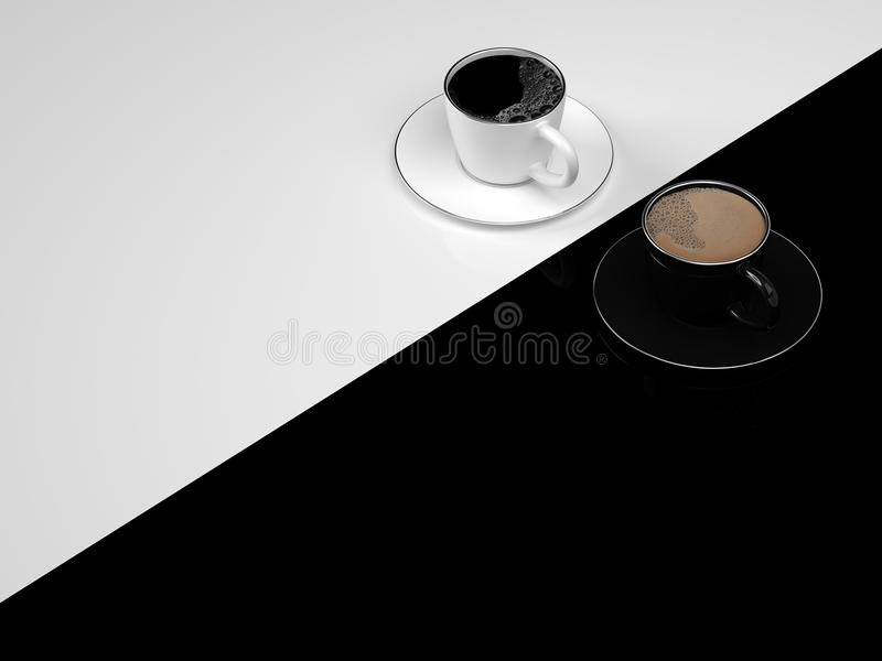 Coffee in cup black and white color. With copy space for your text on black and white background for business and minimal concept.3d render vector illustration