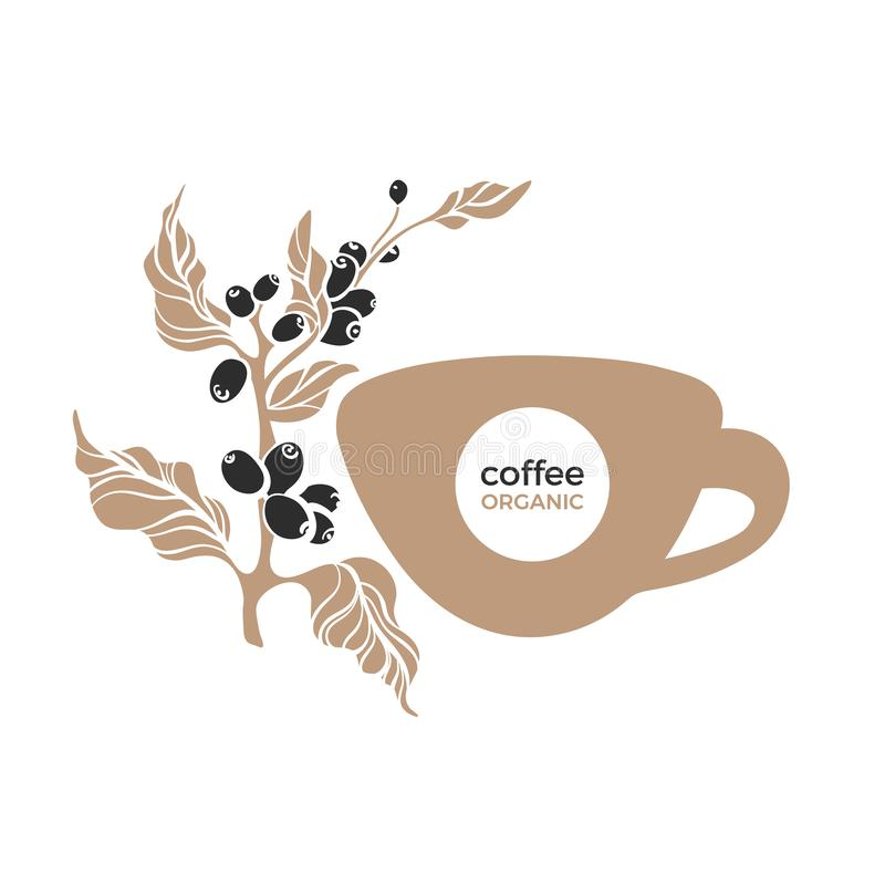 Coffee cup and branch. Vector symbol. Simple sticker stock illustration