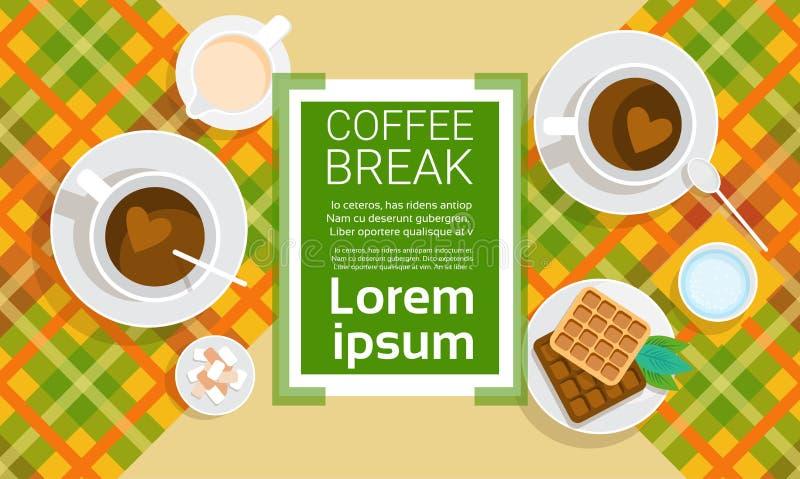 Coffee Cup Break Breakfast Drink Beverage Top View royalty free illustration