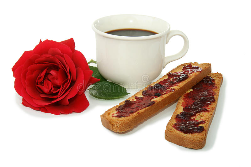 Coffee cup, breakfast. Cup of coffee, french breakfast with bread and jam royalty free stock image