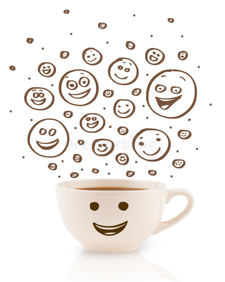 Coffee-cup with brown hand drawn happy smiley faces. Isolated on white royalty free stock image