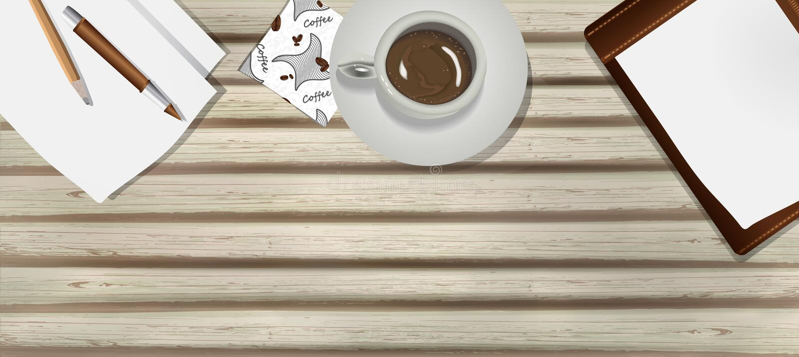 Old, wooden table with a Cup of coffee, paper, pen and pencil in realism style. business workplace, vector background for design. Coffee Cup and business items stock illustration