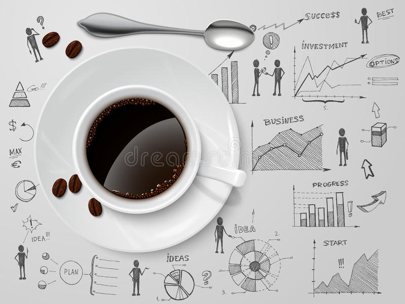 Download Coffee Cup On Business Sketch Stock Vector - Illustration of leadership, coffee: 39502991