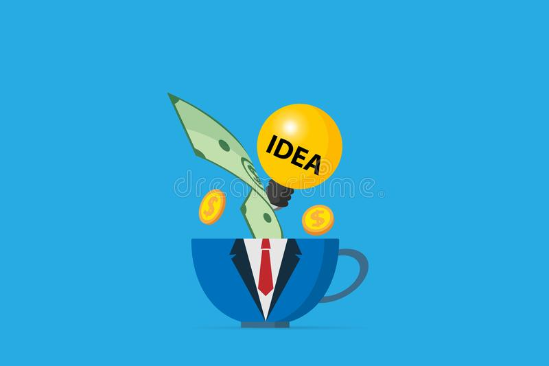 Coffee cup in business uniform with light bulb and money, business concept stock photos
