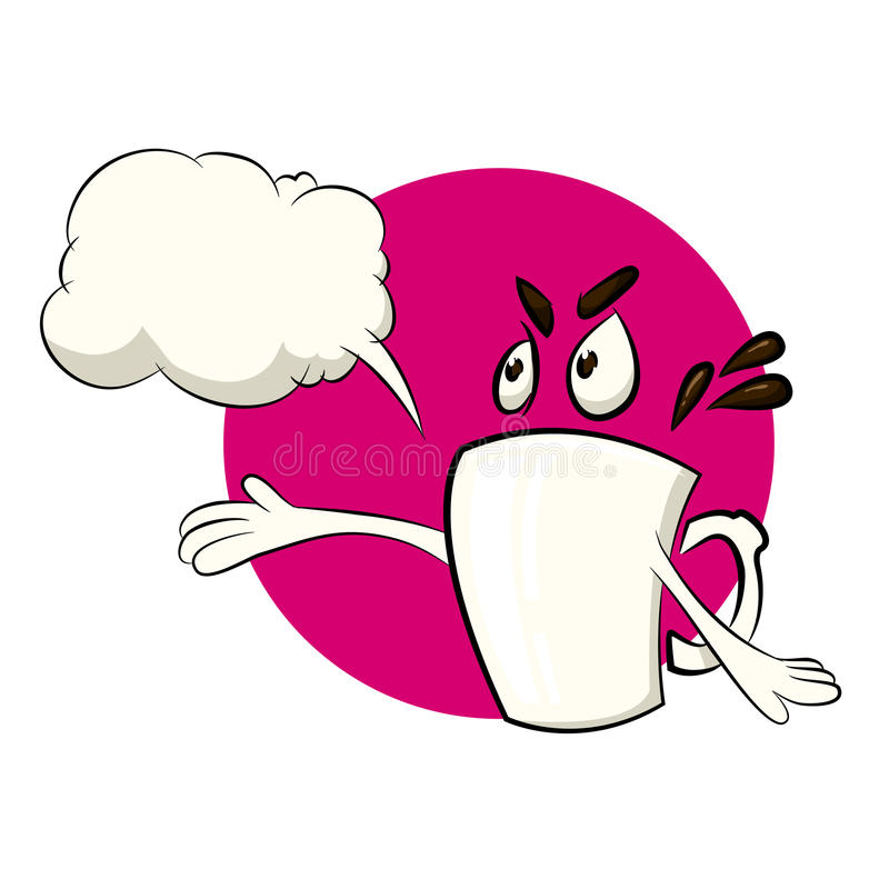 Coffee cup cartoon character with a caption balloon royalty free illustration