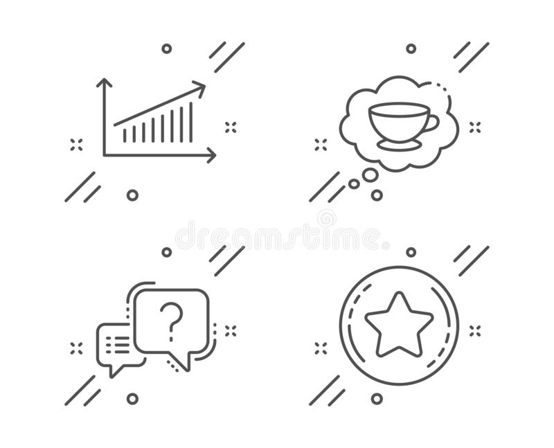 Coffee cup, Chart and Question mark icons set. Loyalty star sign. Think bubble, Presentation chart, Quiz chat. Vector. Coffee cup, Chart and Question mark line stock illustration