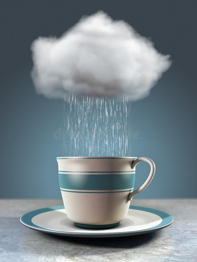 Coffee cup and cloud stock illustration. Illustration of ...