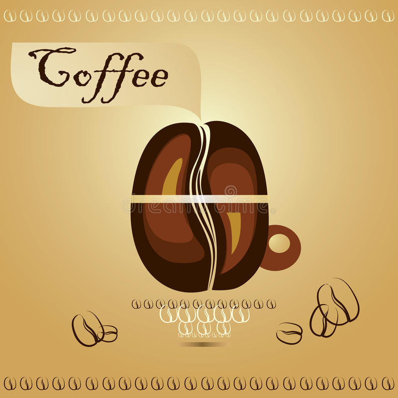 Coffee cup with coffee beans royalty free illustration