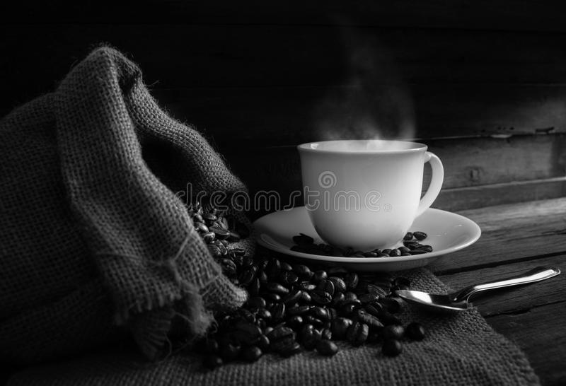 Coffee cup, coffee beans royalty free stock image