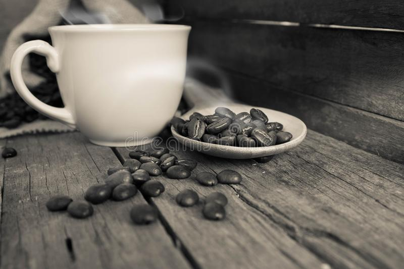 Coffee cup, coffee beans royalty free stock photo