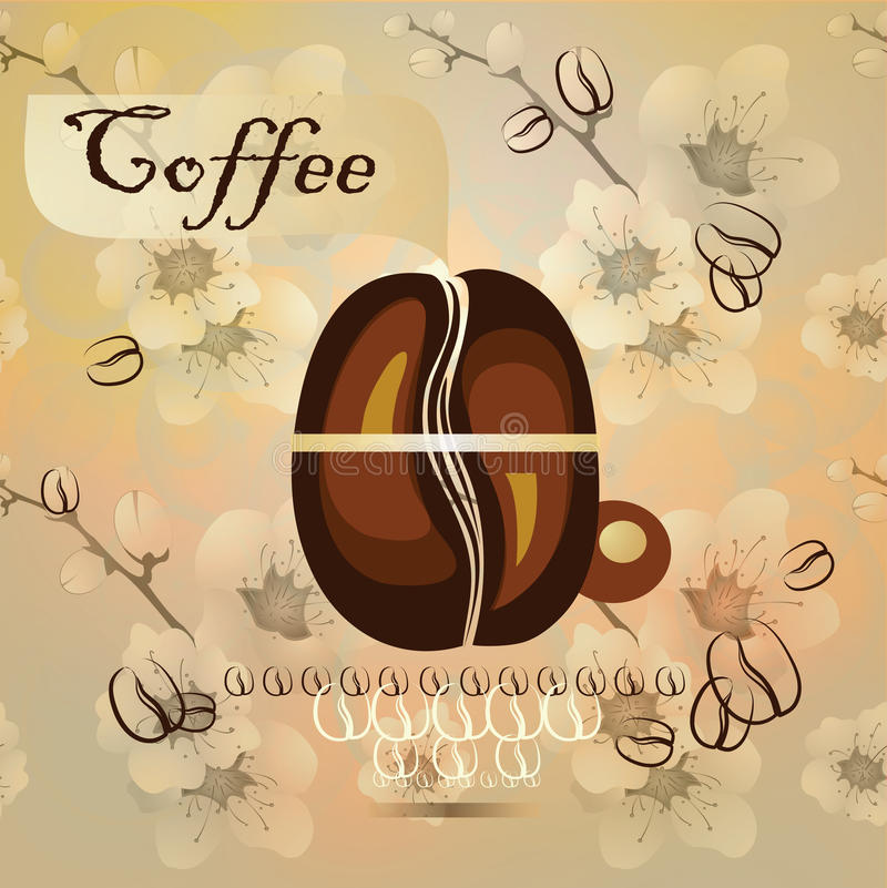 Coffee cup and coffee beans stock illustration