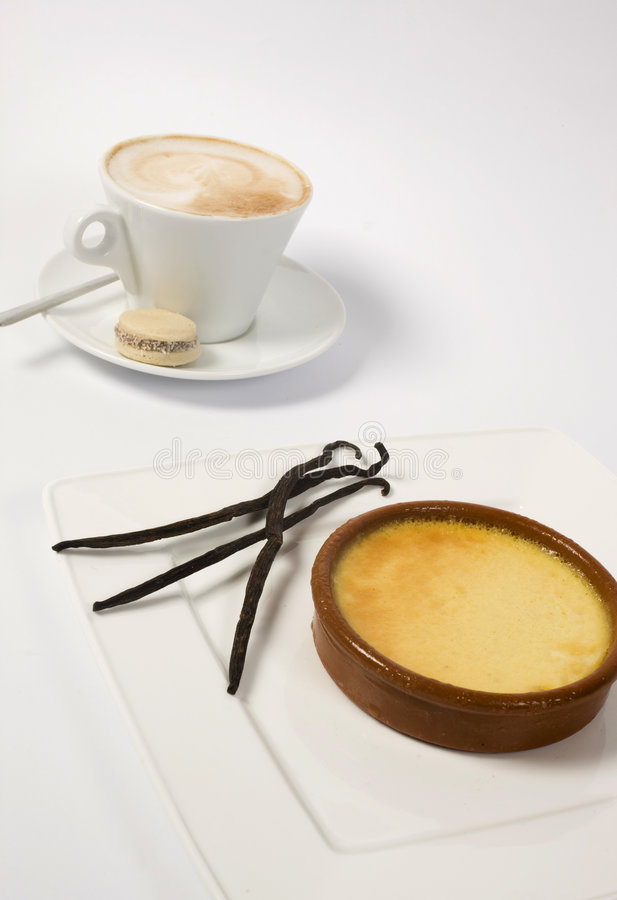 Coffee cup and custard stock image