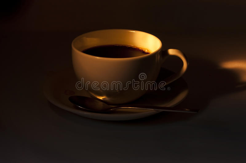 Coffee cup in dark royalty free stock image