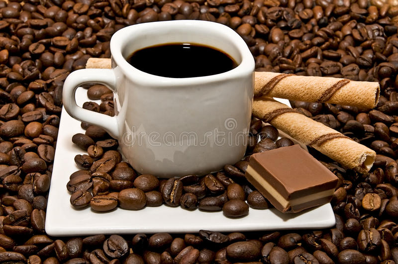 Coffee cup with decoration only stock photos
