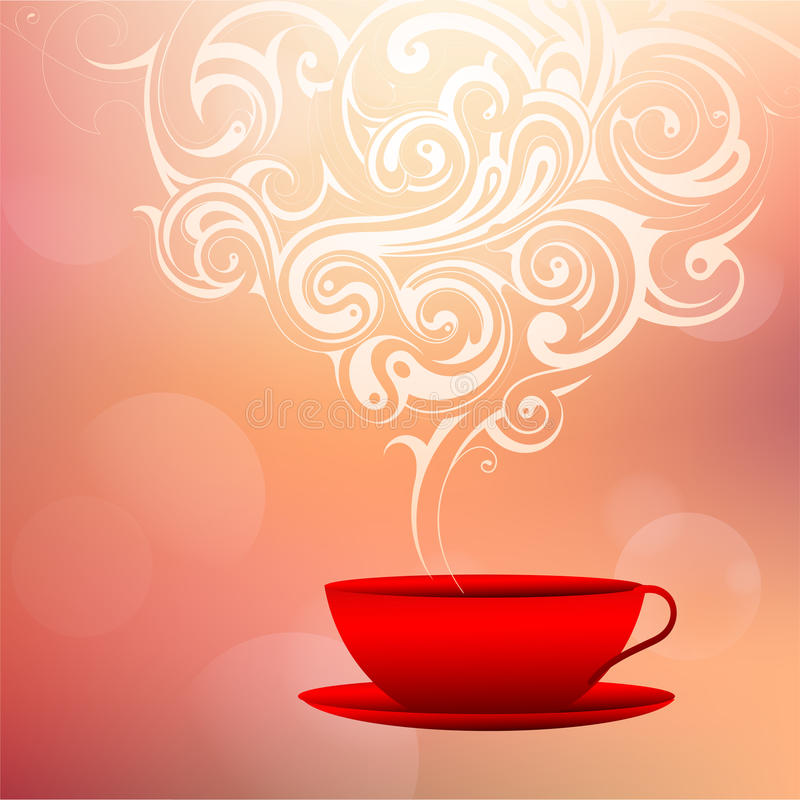 Coffee cup with decorative smoke vector illustration